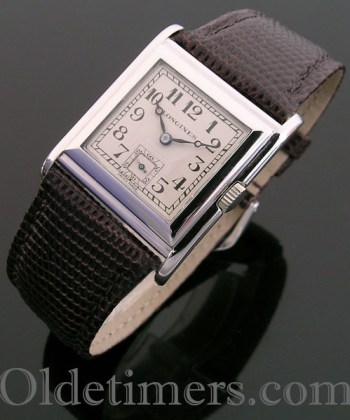 1920s 18ct white gold square vintage Longines watch