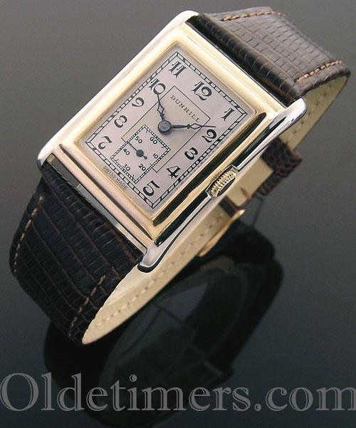 1920s 18ct gold rectangular vintage Dunhill watch (4026)