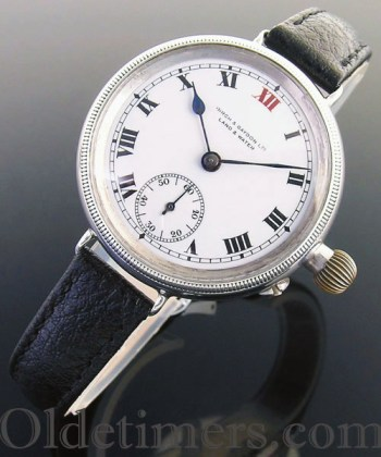 1917 silver round vintage Birch & Gaydon 'Officers' watch