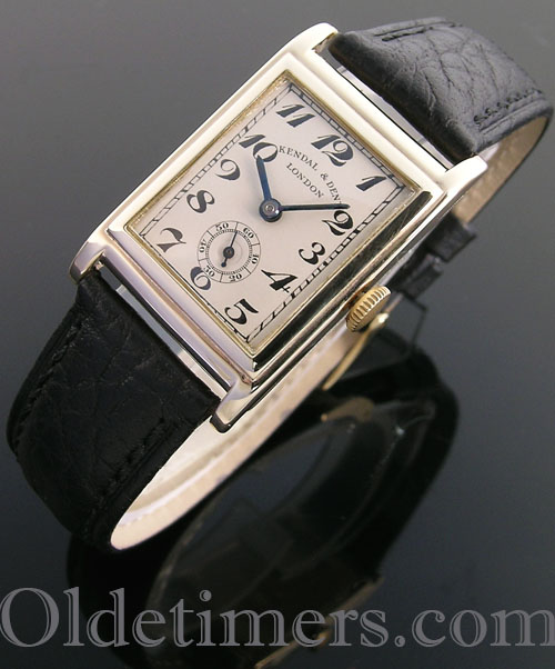 1930s 9ct gold rectangular vintage Kendal & Dent watch (3927)