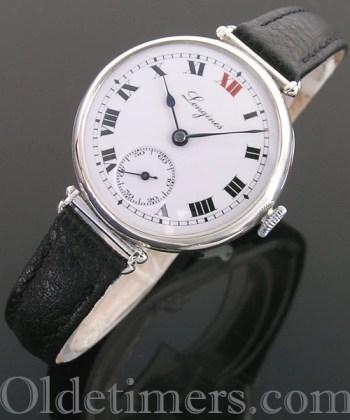 1920s silver round vintage Longines watch