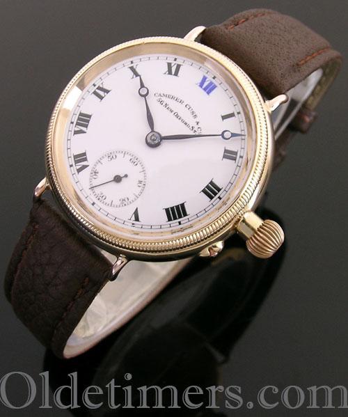 1920s 18ct gold round vintage Camerer Cuss 'Borgel' watch (3964)