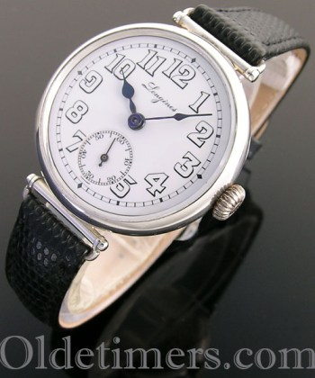 1918 round silver vintage Longines 'Officers' watch