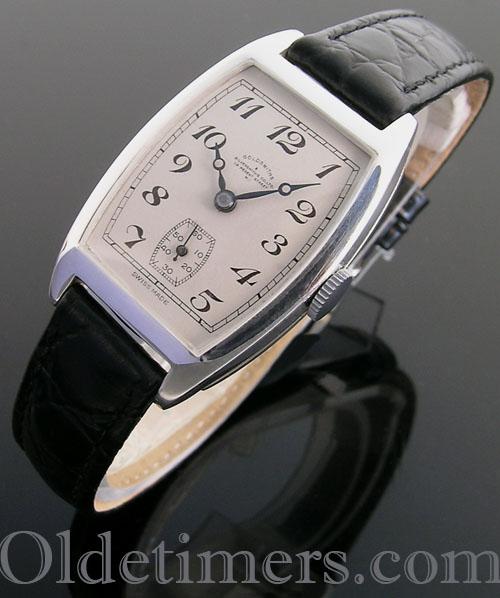 1930s silver tonneau vintage Goldsmiths & Silversmiths watch (3982)