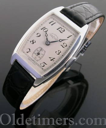 1930s silver tonneau vintage Goldsmiths & Silversmiths watch