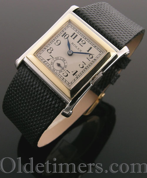 1920s 18ct two-colour gold square vintage Rolex watch (3987)