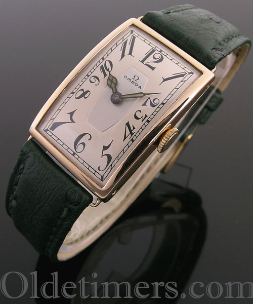 1917 18ct gold rectangular vintage Omega watch