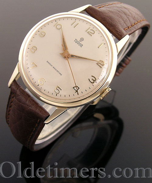 Vintage Tudor Watches >> 1950s 9ct Gold Round Vintage Tudor Watch 3501 Olde Timers