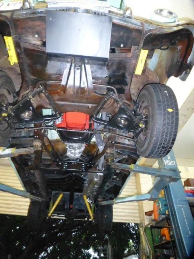 What it looks like underneath with skid plates and under body protection.