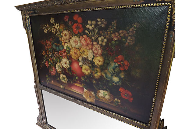Antique Trumeau With Original Signed Oil Painting Over