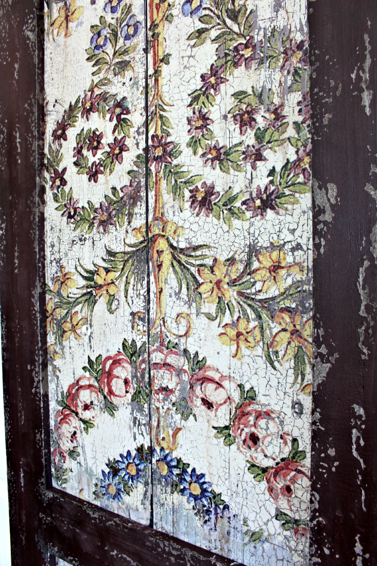 Large Wood Panel Shutters With Antique Design Pair 2