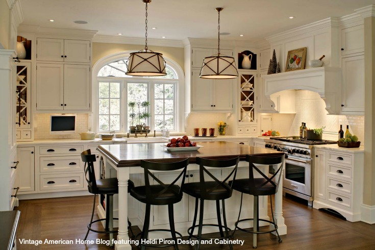 How to Update your Kitchen to Farmhouse Style  new or existing     White farm kitchen with Bentwood Bar stools farm