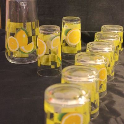 pichet et verres à orangeade vintage