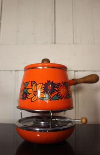 service à fondue savoyarde orange
