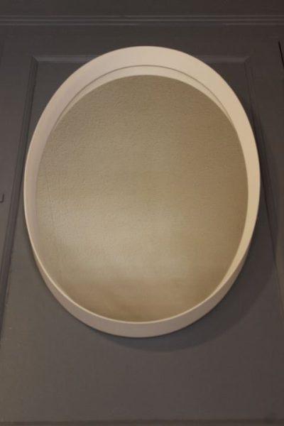 miroir ovale cerclage blanc vintage
