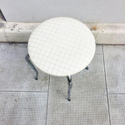 Tabouret vintage skaï blanc