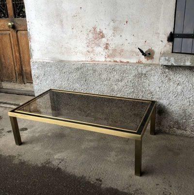Table basse verre fumé et métal