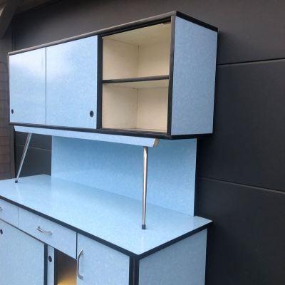Buffet formica bleu années 60