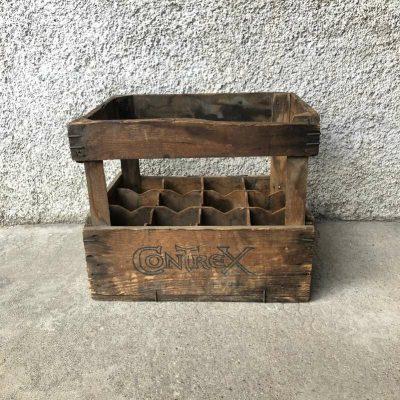 Caisse en bois bouteilles Contrex vintage