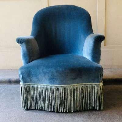 Fauteuil crapaud bleu vintage