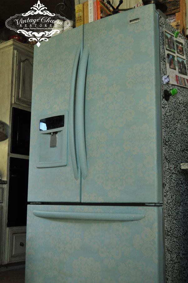 Painted refrigerator by Vintage Charm Restored