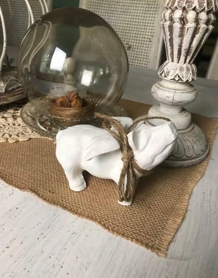 Vintage White Winged Piggy