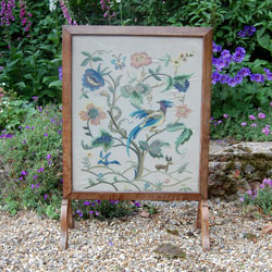 Early 20th Century Embroidered Oak Fire Screen