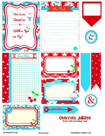 Cherries Jubilee Journaling Cards