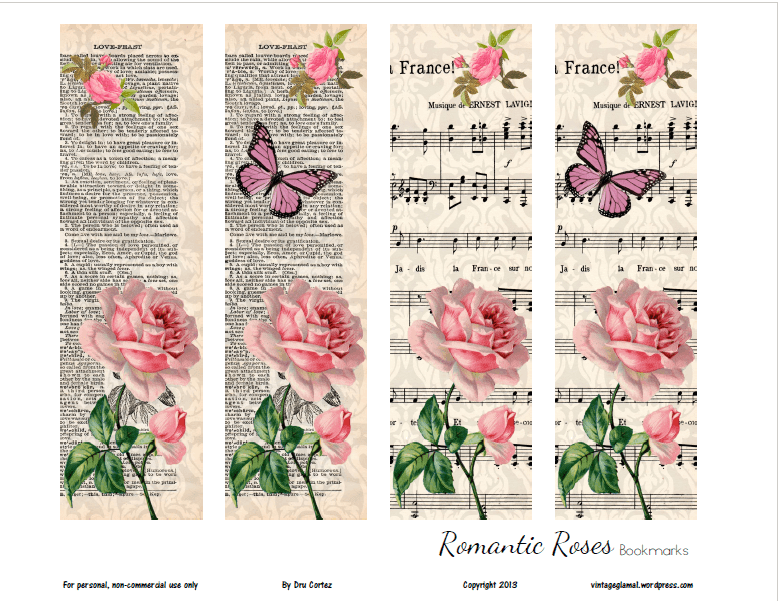 Romantic Rose Bookmarks