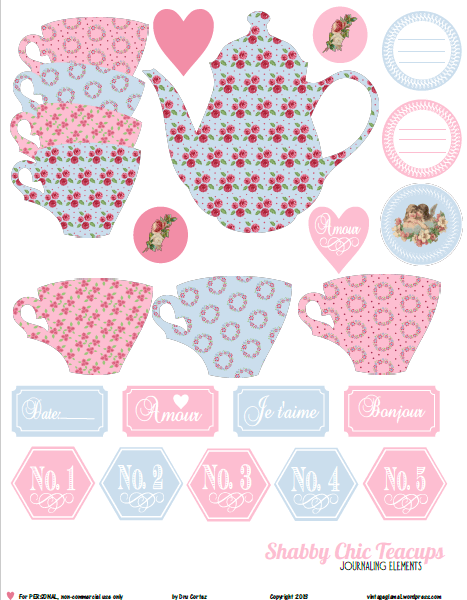 picture regarding Teacup Printable identified as Cost-free Printable Down load - Shabby Stylish Teacup Materials