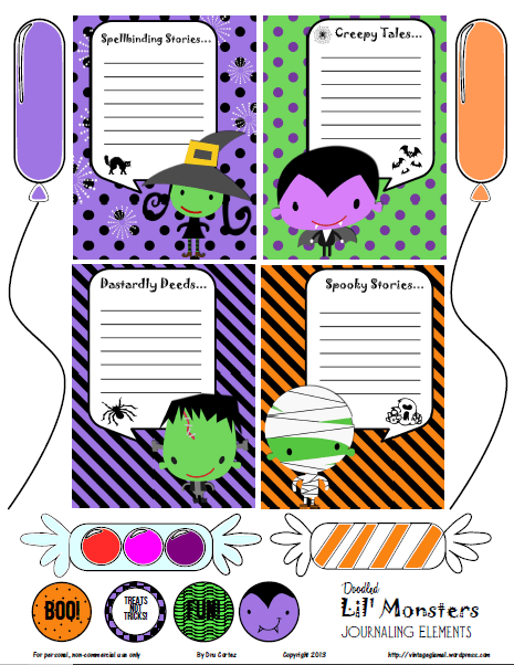 Lil Monsters journaling cards and elements
