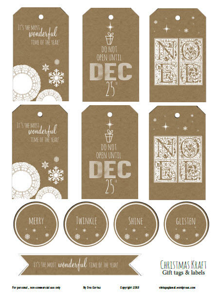 photo regarding Printable Kraft Tags titled No cost Printable Obtain - Xmas Kraft II Reward Tags