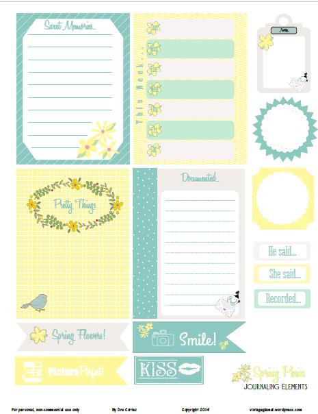 Spring Posies Journaling Cards