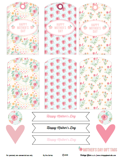 image relating to Free Printable Shabby Chic Paper known as Absolutely free Printable Down load - Shabby Stylish Moms Working day Present Tags