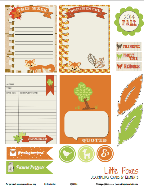 Little Foxes | Journaling cards and elements printable