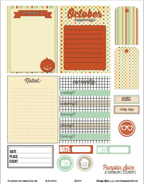 Pumpkin Spice | Journaling cards printable