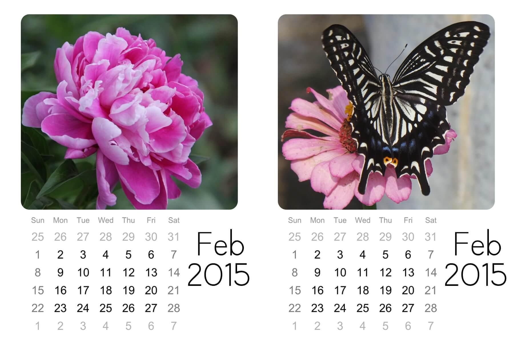 Feb mini calendars