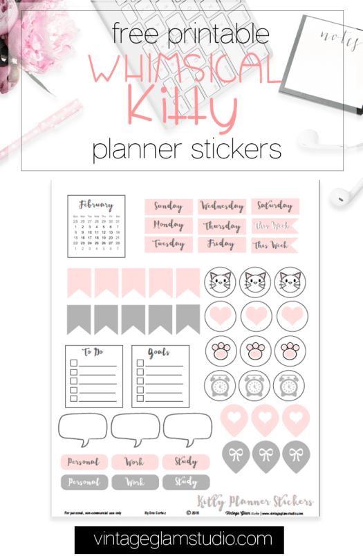 Whimsical Kitty planner stickers printable