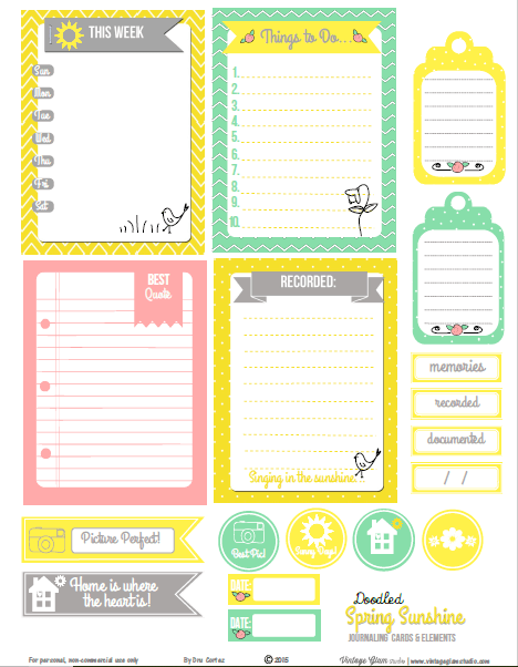 Spring Sunshine Journaling Cards printable