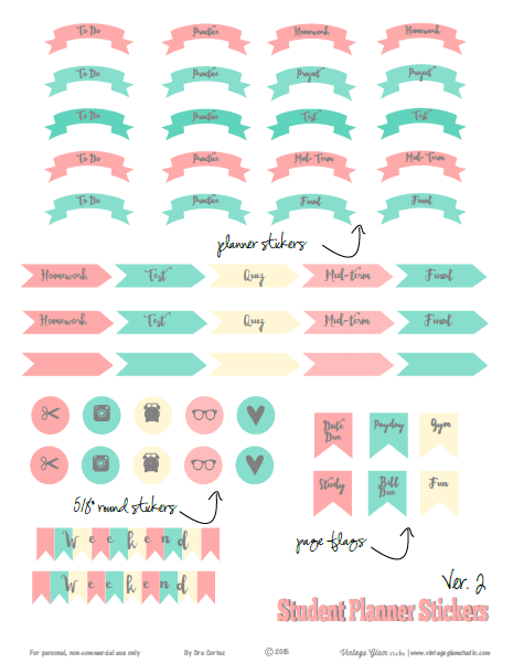 image regarding Free Printable Stickers called College student Educational Planner Stickers - Ver 2 - Cost-free Printable