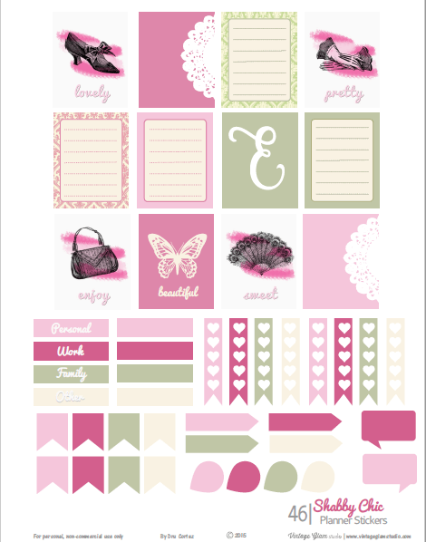 Shabby chic planner stickers printable