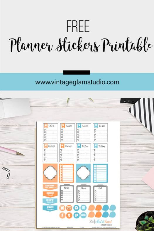 Teal and Coral | Planner stickers printable, for personal use only