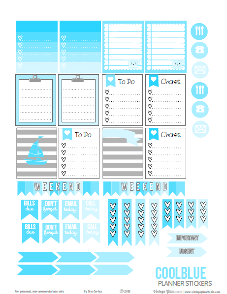 Cool Blue planner stickers