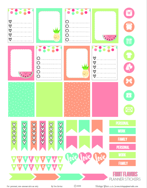 Fruit Flavors | planner stickers preview