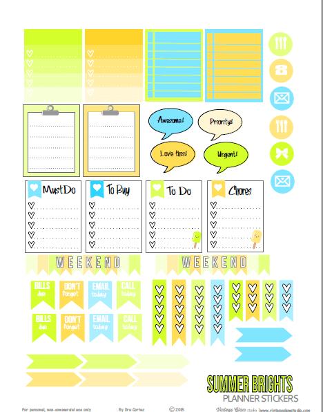 Summer Brights planner stickers
