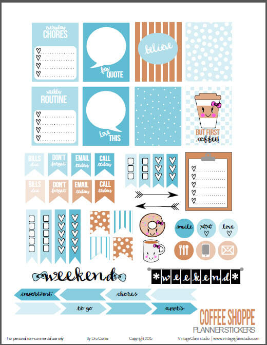 Coffee-Shoppe-planner-stickers printable | for personal use only