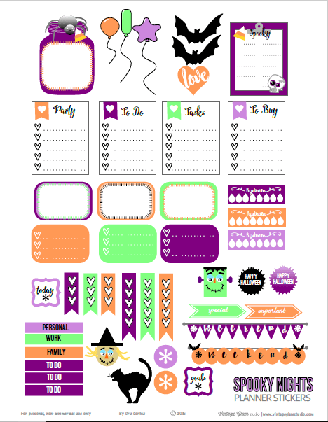 Spooky Nights | planner stickers preview