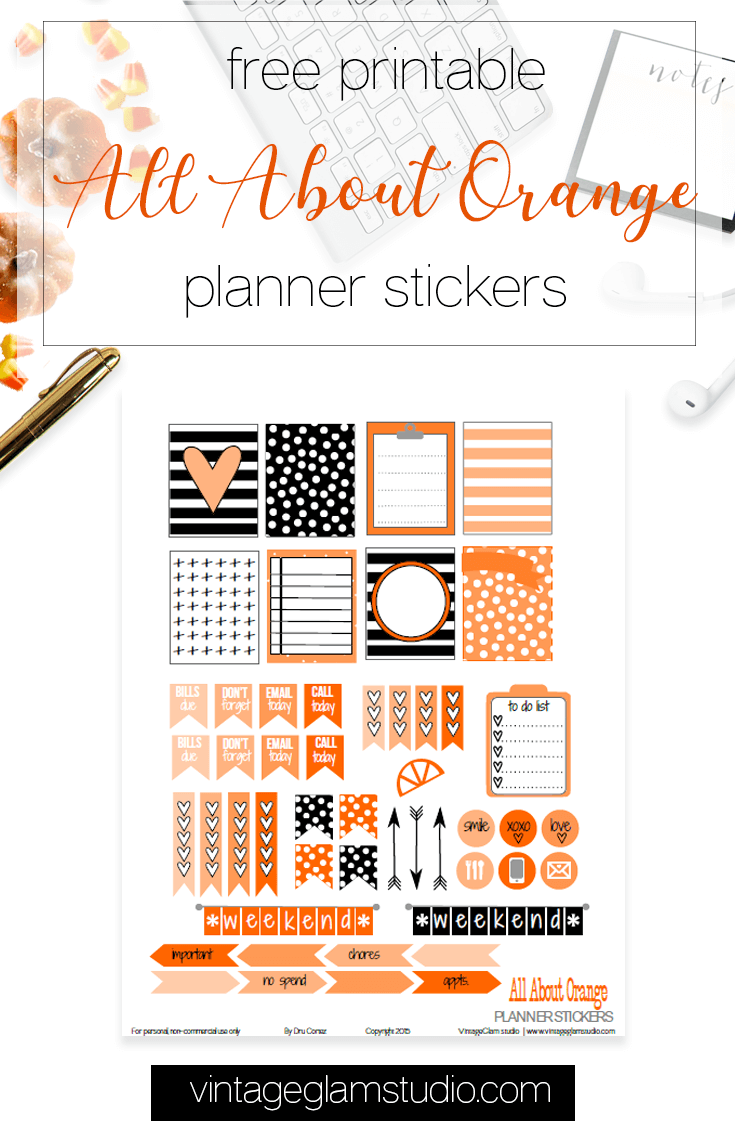 all about orange planner stickers printable