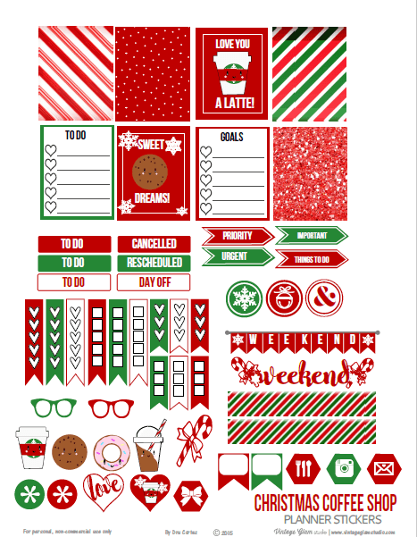 Christmas Coffee Shop | planner stickers preview