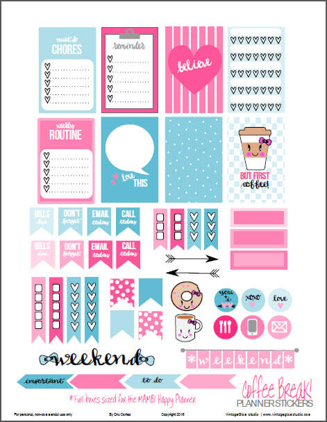 Coffee Break | planner stickers preview